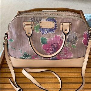 Kate Spade Floral Tan Canvas Leather Purse